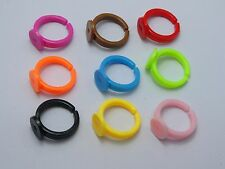 100 Mixed Color Plastic Adjustable Kids Ring Blank Findings GLUE ON Base 9mm Pad