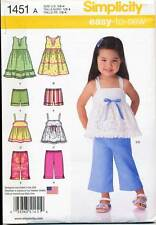 SIMPLICITY SEWING PATTERN 1451 TODDLERS/GIRLS ½-4 DRESS TOP SHORTS CROPPED PANTS