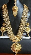 12'' Long 22K Gold Plated Fashion Necklace Earrings South Indian Wedding Set 6