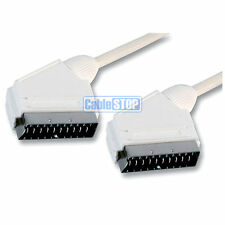 2m WHITE Scart Lead AV AUDIO VIDEO TV CABLE 21 PIN