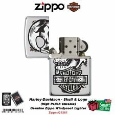 Zippo Harley-Davidson Skull & Logo Lighter, High Polish Chrome #29281