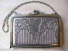 Antique Victorian Art Nouveau Silver T Card Case Compact Coin Purse 1912 #2