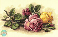 Cross Stitch Kit ~ Dimensions Rose Cuttings Pink & Yellow Flowers #13720