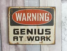 Humour Metal Wall Sign 'Warning Genius At Work' Construction Hanging Wall Plaque