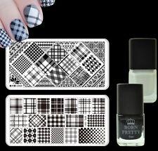 Grids Nail Art Stamp Image Plates Kit Black White Color Stamping Polish Varnish