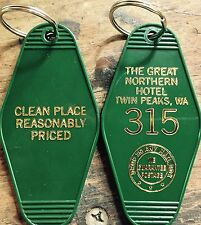 """New Style! Gold printed TWIN PEAKS Inspired """"Great Nothern Hotel"""" keychain"""