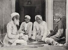 1928 Original INDIA Chitogarh Men Beard Turban Business Photo Art By HURLIMANN