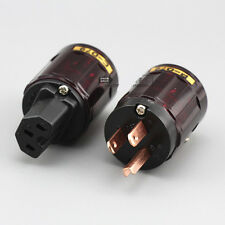 One Pair Pure Copper P079 US Power Plug Connector +C079 IEC Female Plug
