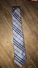 Men's Burberry Tie- Modern Cut- Blue/Grey Check Pattern- Authentic- 100% Silk