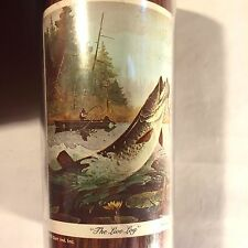 "Vtg Thermo-Serv Woodgrain Cup Fly Fishing ""The Live Log"" Bass Trout Fish Boat"