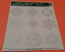 Set of 36 Christmas Frozen Snow Flake Glitter Window Clings Silver Snowflakes