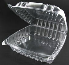 50 Large CLEAR Plastic Hinged Food Containers 1-Compartment 9x9x3 Salad Sandwich