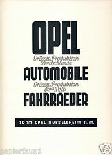 Opel Auto Fahrrad Grösste Produktion Orig. Reklame 1926 Deutschland Welt car ad