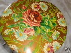 ANTIQUE VICTORIAN RED ROSES BLUE FLOWERS CELLULOID COLLAR VANITY DRESSER BOX
