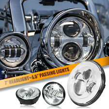 "7"" Chrome LED Projector Daymaker Headlight & Passing Lights Fit Harley Davidson"