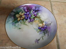 "ANTIQUE LIMOGES FRANCE  PURPLE, BLUE & YELLOW FLOWERS HAND PAINTED 9"" PLATE"