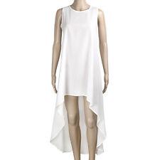 Women Summer Chiffon Dress Sleeveless Front Short Back Long Irregular Dresses