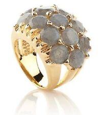 "Bellezza ""Fascino"" 9.90 CT Genuine Labradorite Cluster Yellow Bronze Ring Size 6"