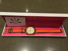 """Isaac Mizrahi Live Orange and Beige """"Must Have"""" Leather and Silicone Watch"""