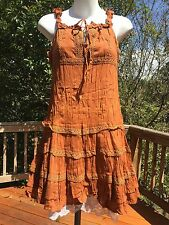 New_Peasant_Boho_Sandy Brown Crinkle Cotton Dress_Crochet & Lace Trim_Sizes M, L