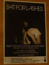 Bat For Lashes - Edinburgh/Glasgow oct.2012 tour concert gig poster