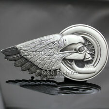 Vintage Silver 3D Eagle Skull Indian Chief Feather Zuni Motorcycle Belt Buckle W