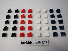 Lego Bulk Lot 40 1x1 SLOPE BRICKS Black Red White Dark Blue Sloped Roof Tiles