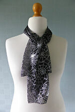 gothic steampunk scarf,  black and silver scarf, Halloween scarf, spiders webs