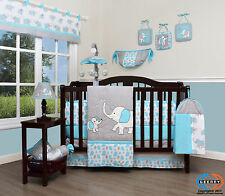 Baby Blizzard Blue Grey Elephant 13 Piece Nursery CRIB BEDDING SET