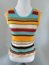 Vtg 90s Moschino Multi Color Stripe Knit Top w/Metallic Thread & Flutter Sleeves
