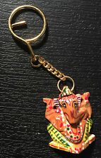 Ganesha Key ring chain holder wooden  HAND PAINTED Bag charm Hindu God Ganes