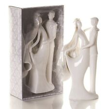 White Porcelain Elegant Bride & Groom Figurine Wedding Cake Topper SF
