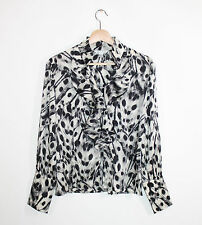 St. John Gray Black Feather Print Silk Spandex Ruffle Career Fitted Blouse 2