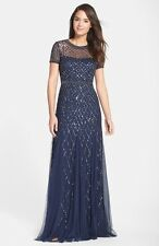 NWOT  navy  Adrianna Papell Short Sleeve Beaded Mesh  Gown 16