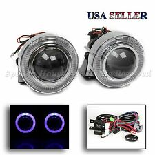 """1 PAIR EURO STYLE 3"""" PROJECTOR FOG LIGHTS LAMPS BLUE LED HALO RINGS W/ SWITCH"""