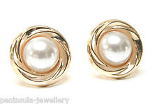 9ct Gold Pearl 10mm Stud earrings Gift Boxed Made in UK