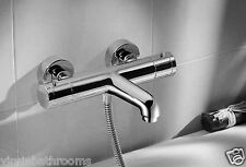 THERMOSTATIC WALL MOUNTED CHROME BATH SHOWER MIXER TAP - 10 YEAR WARRANTY