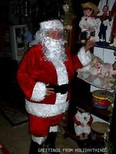 VELVET CHRISTMAS SANTA SUIT COSTUME w/ WIG & BEARD SET