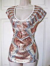 NWT bebe white silver gold stud sequin  colorblock stretchy dress top L large 10