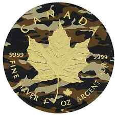 2016 1 Oz Ounce Canadian Silver Maple Leaf Coin .9999 Army Maple Gold Gilded