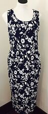 Ann Taylor Loft Floral Print Rayon Sleeveless Navy Blue Dress W/ Pockets- Small