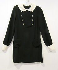 JILL STUART Black Ivory Wednesday Addams Goth Peter Pan Collar Cuffs Dress sz 4