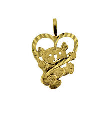 14K Solid Yellow Gold Light Koala Bear Charm Pendant