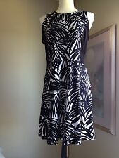 Michael Kors Black & White Palm Frond Print Dress Size 10 RN# 111818 EUC!!!