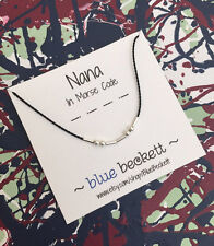 Blue Beckett Morse Code 'Nana' Necklace - Sterling Silver Beads & Silk Cord