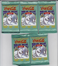 "1996 COCA-COLA POLAR BEARS COLLECTORS CARDS ""SOUTH POLE VACATION"" - 5 PACKS"