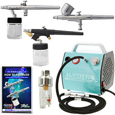 3 Master Airbrush Set System Air Compressor Kit Hobby Craft Paint Cake Tattoo