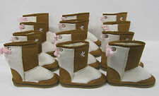Girls Boots 6 pair wholesale lot LED FLASHING LIGHTS beige brown children's snug
