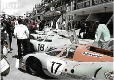 1971 GULF RACING PORSCHE 917 LE MANS 24 HOURS HEURES PHOTOGRAPH FOTO STUNNING