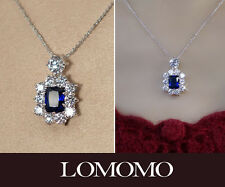 Silver Plated Sapphire Necklace round with Crystals CZ N268
